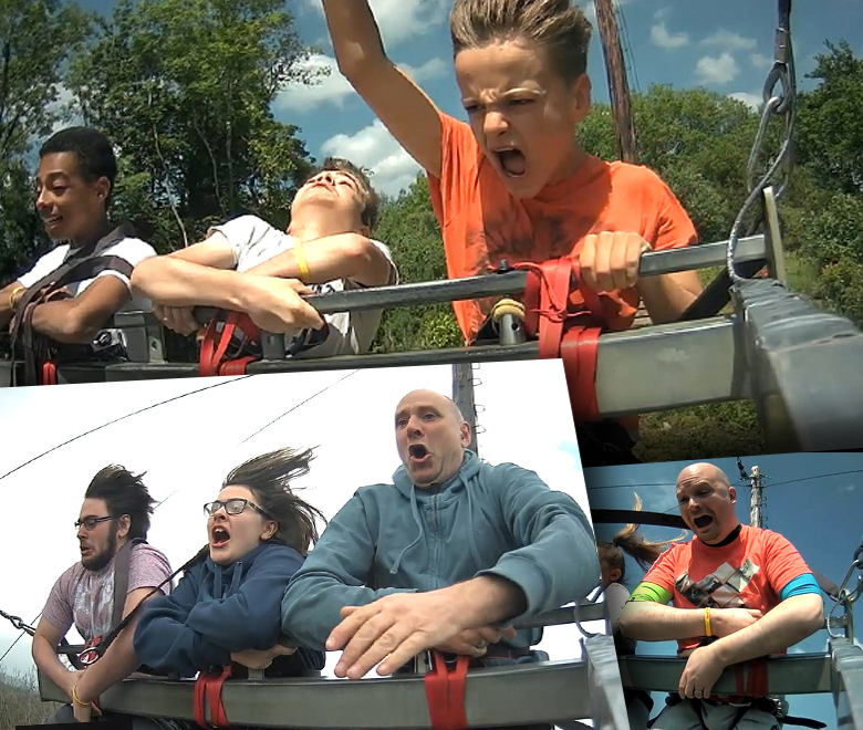 Snapshots from video of Adrenalin Quarry ride action video
