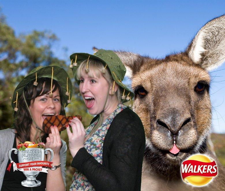 Australian theme Walkers green screen photography with explorer hats and Kangaroo