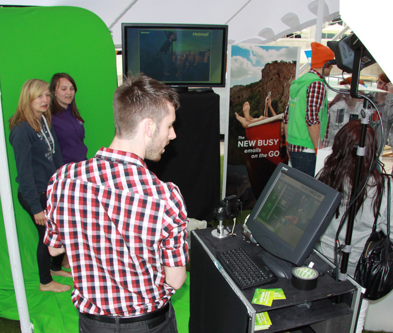 Microsoft event green screen photography set up