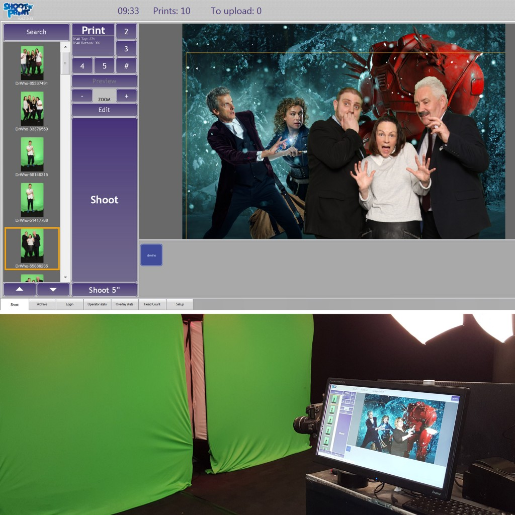 Doctor Who themed green screen photography - behind the scenes computer display of final image