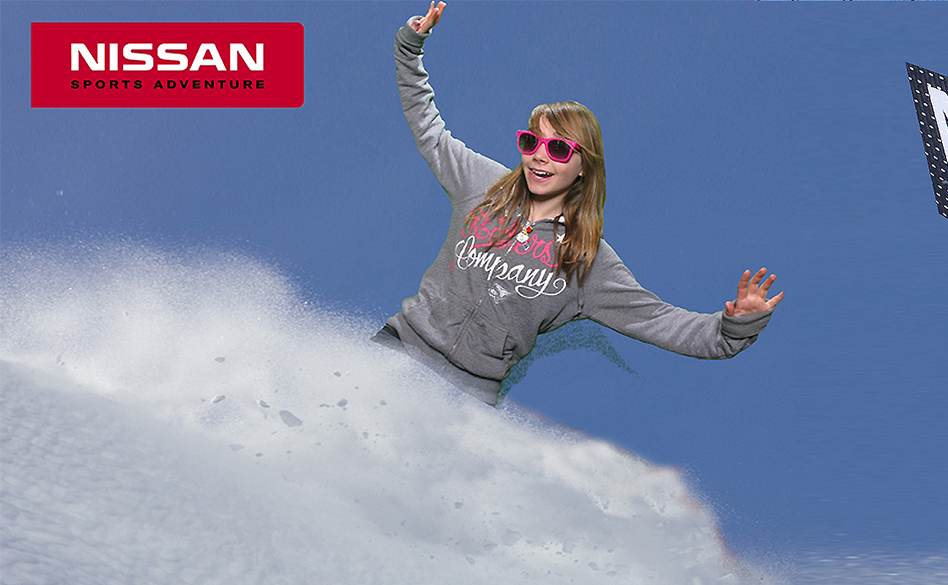 Nissan green screen marketing of girl posing on ski slope