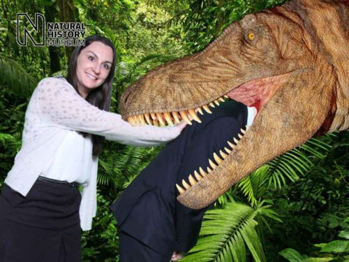 Dinosaur eating man at Natural History Museum with green screen photography