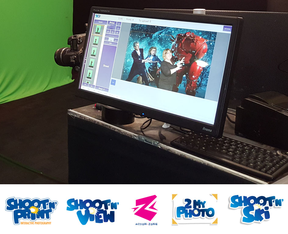 Doctor Who themed green screen photography behind the scenes computer display
