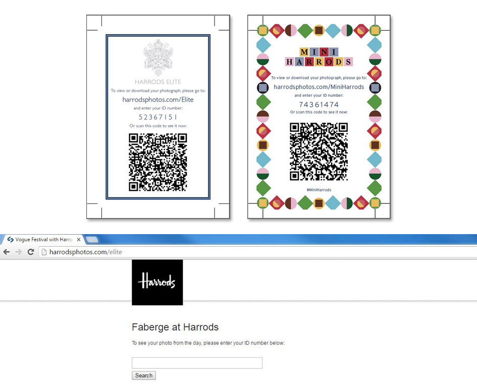 Harrods QR codes for photograph access
