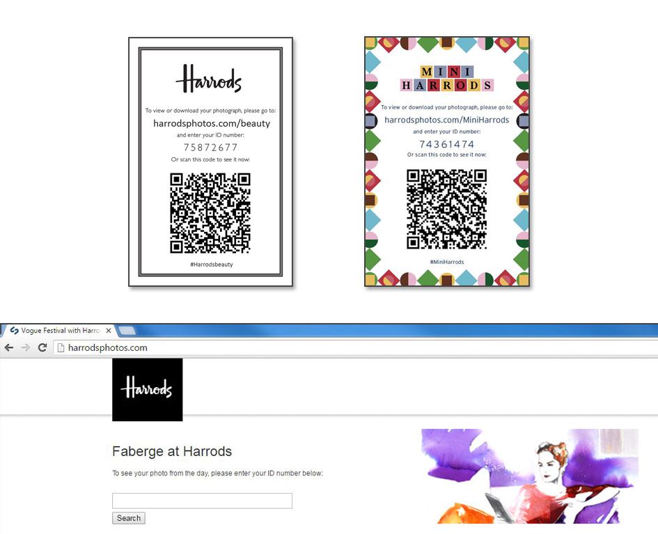 Green screen technology - Harrods QR code photo download