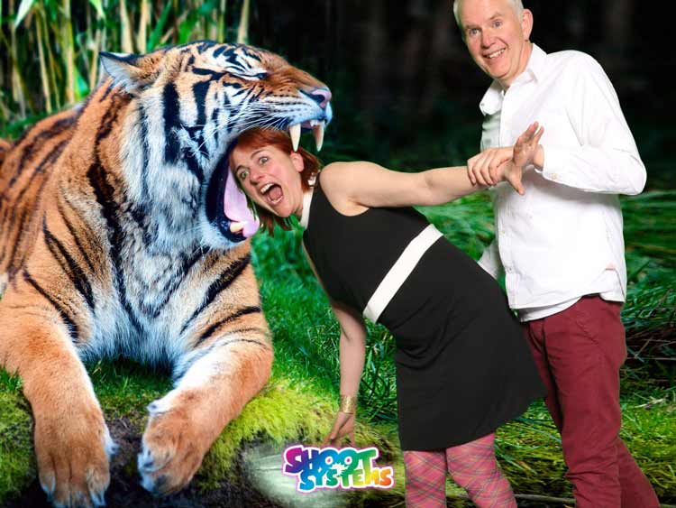 Woman with head in tigers mouth green screen photography