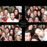 Wedding guests posing in photo booth