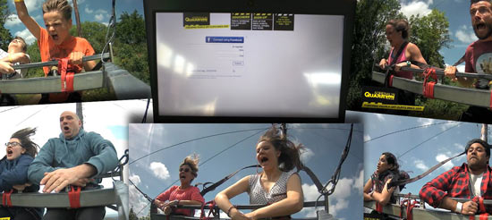 Action shots of customers enjoying adrenaline rides