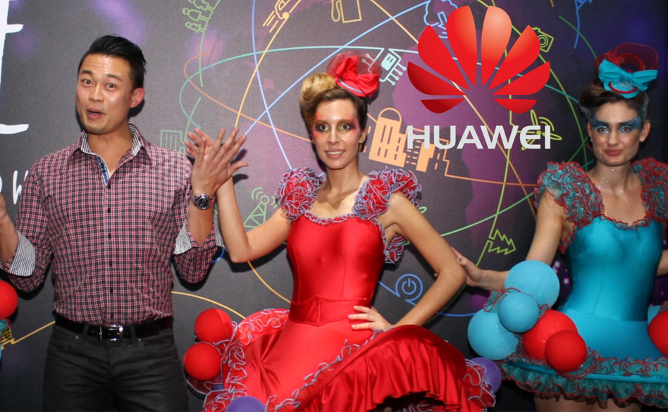 Performers posing at Huawei brand event