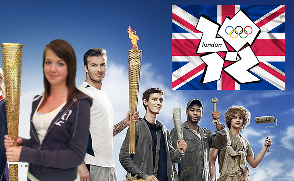 London 2012 Olympics green screen marketing of girl holding Olympic torch alongside others