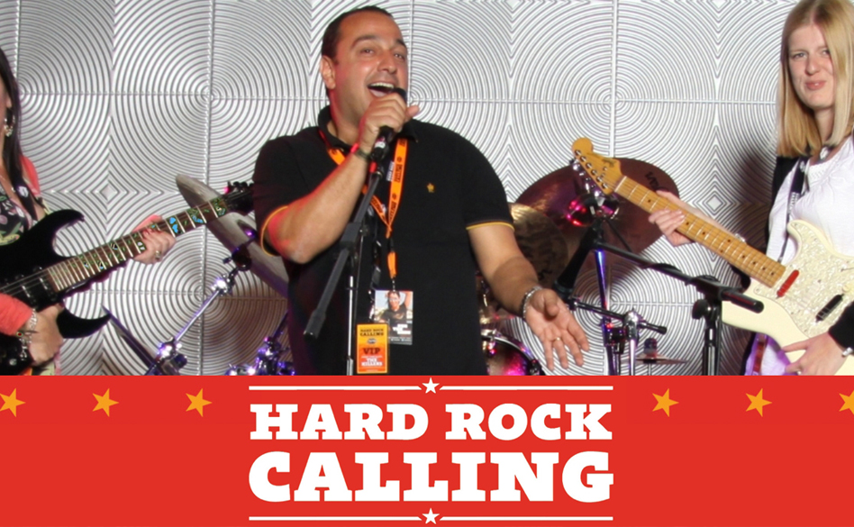 Hard Rock Calling brand photography - people posing as band members