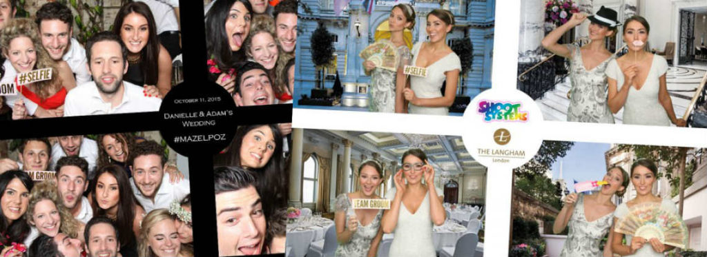 Collage of images from wedding photo booths