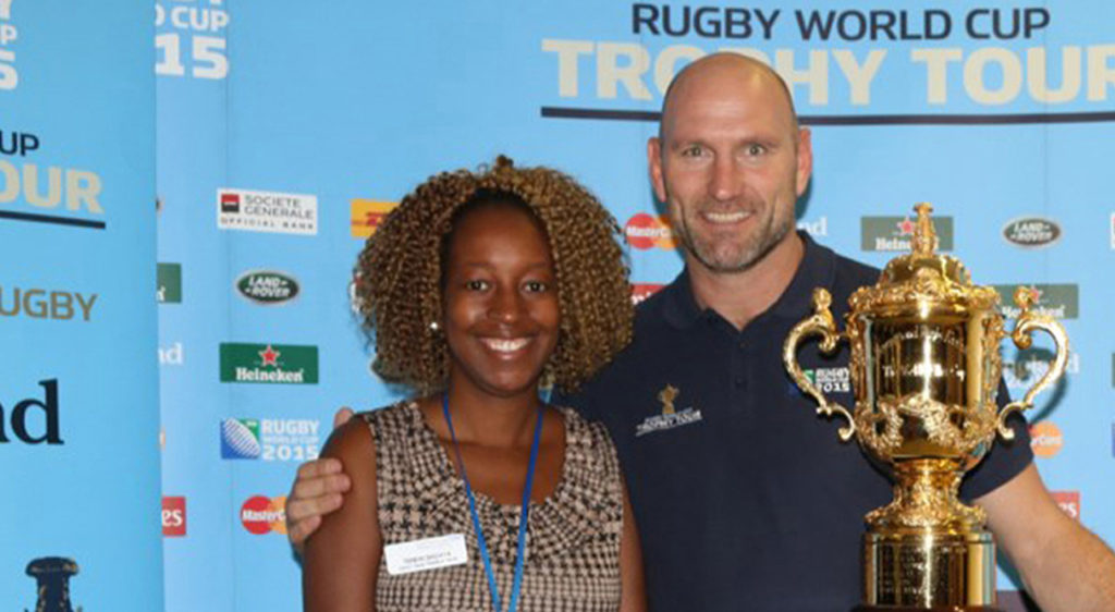 Guest posing with lawrence dallaglio sports marketing service