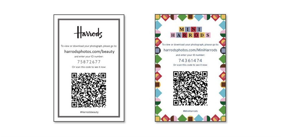 QR Codes for customers to download green screen photos from Harrods event
