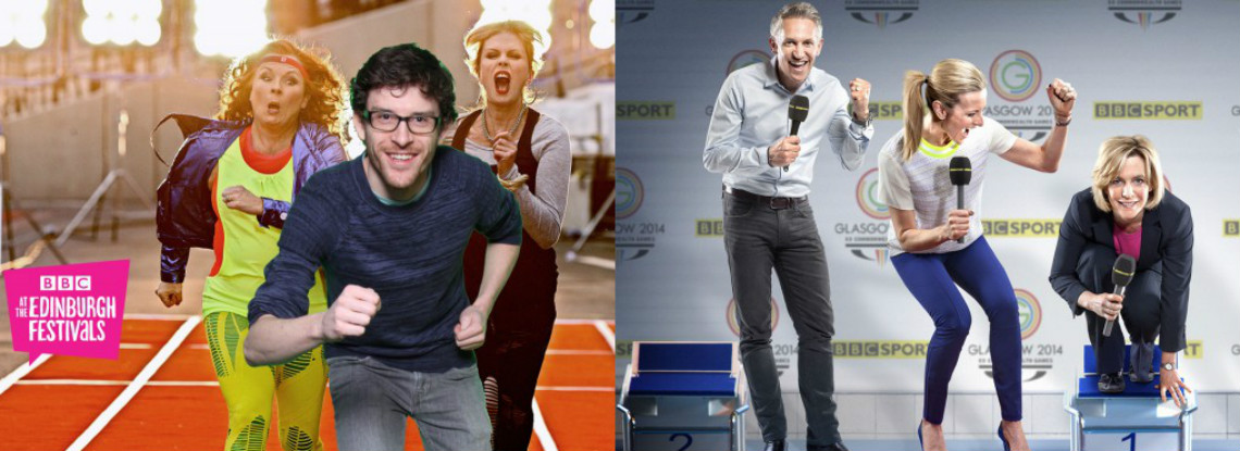 People taking part in sports for BBC brand campaign using green screen technology