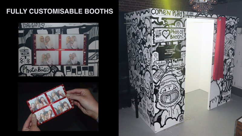 External view of a night club photo booth and printed photo strip